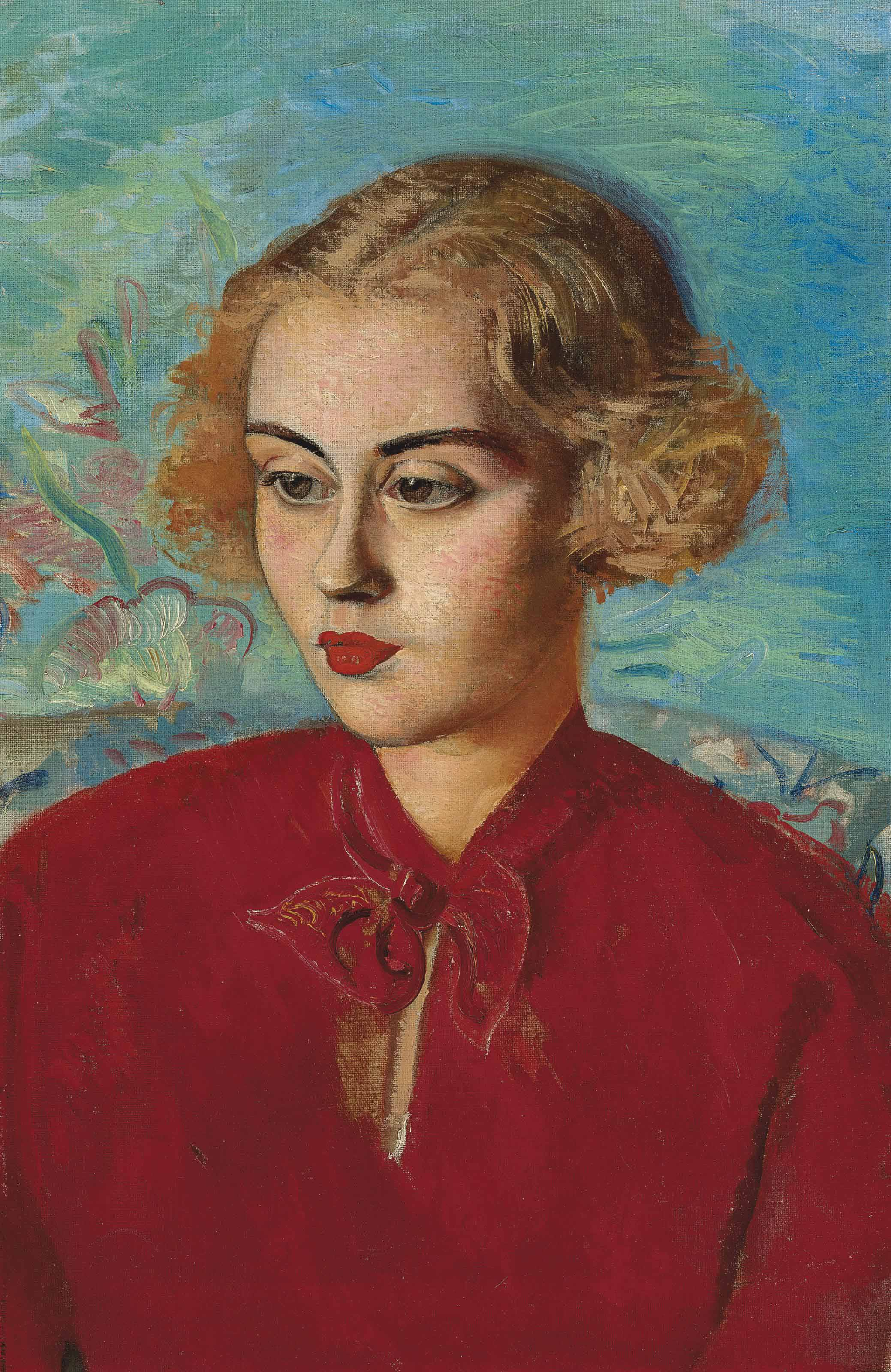Boris Grigoriev (1886-1939)  Woman in red